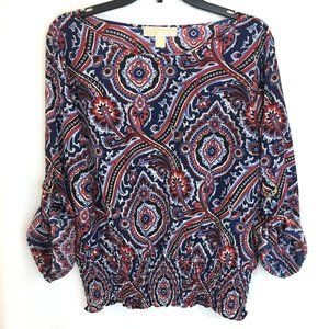 Michael Kors Red, White & Blue Paisley Top L